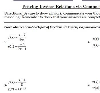 Inverse and Composite Functions Mini Bundle (Common Core Aligned, Algebra)