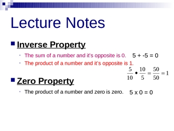 Inverse and Zero Propterties