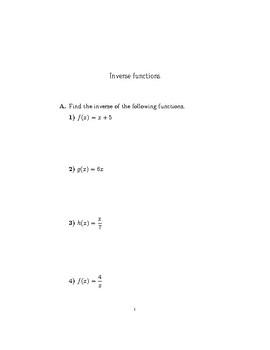 Inverse Functions Worksheet Teaching Resources Teachers Pay Teachers