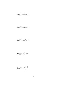 Inverse functions worksheet (with solutions)