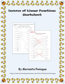 Halloween:Inverse of Linear Functions Worksheet
