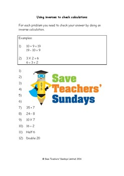 Inverse operations (checking calculations) lesson plans an