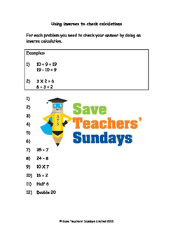 Inverse operations (checking calculations) worksheets