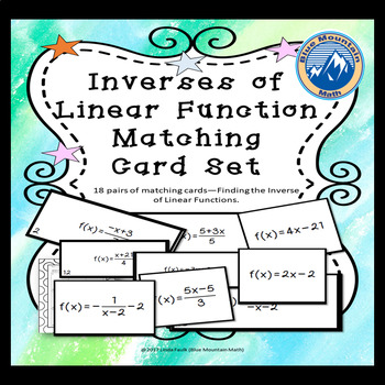 Inverses of Linear Functions Matching Card Set