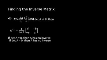 Inverses of Matrices - PowerPoint Lesson (11.5)