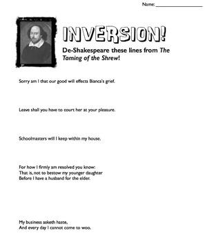 Shakespeare & Inversion Mini-lesson