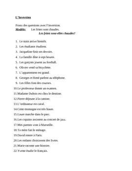 Inversion with noun French worksheet 1
