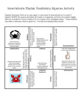 FREE Invertebrate Animals Phylum Vocabulary Puzzle for INB or Small Group
