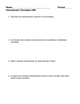 Invertebrate Chordates Homework Assignment