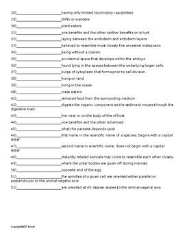 Invertebrate Classification Vocab. Quiz or Worksheet for Invertebrate Biology