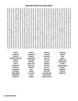 Invertebrate Classification Vocabulary Word Search for Inv