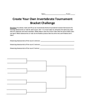 Invertebrate Classification Tournament Madness Bracket Challenge