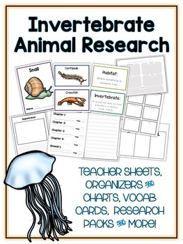 Invertebrate Research Project - 11 Types, Vocab Cards, Packet, Book & More