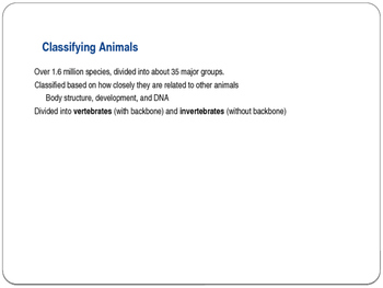 Invertebrate and Vertebrate Animals