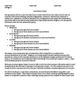 Invertebrate teaching project