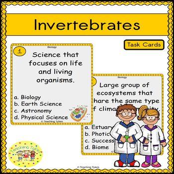 Invertebrates Task Cards