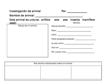 Animal project/ Proyecto de animal Dual Language material