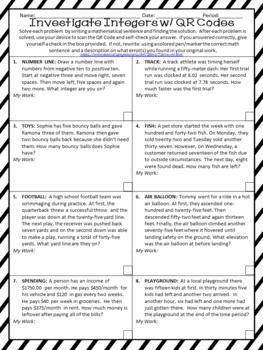 Investigating Integers using QR Codes