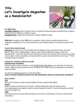 Investigate Magnetism as a Nanoscientist for a future career