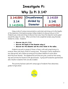 Investigate Pi Project:  Why is Pi 3.14?