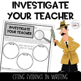 Investigate The Teacher Back to School Writing Activity