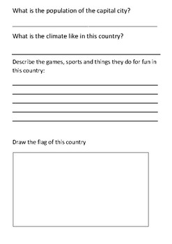 Investigating Countries Around the World Handout