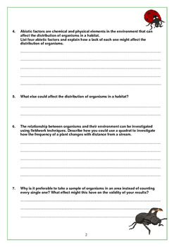 Investigating Ecosystems Worksheet