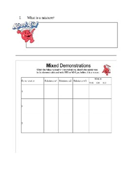 Investigating Mixtures Notes and Lab Activity