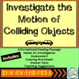 Newtons Third Law of Motion and Colliding Objects Lab Worksheets and Passage