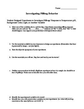 Investigating Pillbug Behavior through Inquiry
