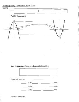 Investigating Quadratic Functions