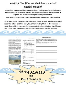 Investigating Sand Dunes Close Reading, Writing and Hands-On Lab Activity