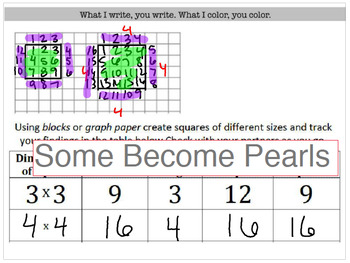 Investigating Square Roots & Squaring Lesson & Interactive Notebook Pages