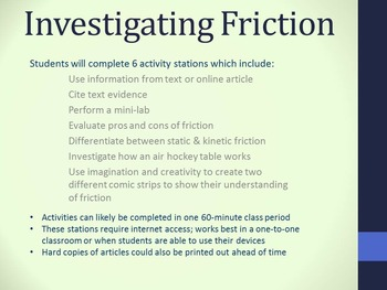 Investigating Static & Kinetic Friction Activity Stations