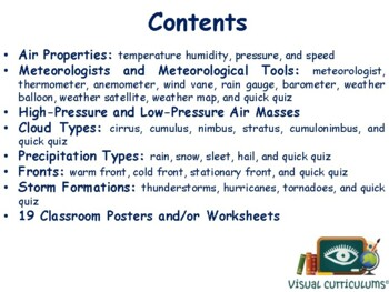 Investigating Weather Lesson & Flashcards-classroom unit, study guide, exam prep