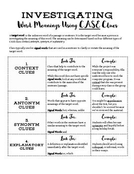 Investigating Word Meanings using CASE Clues