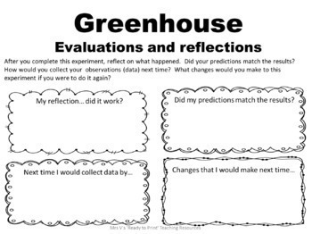 Investigating plants science unit including greenhouse activity