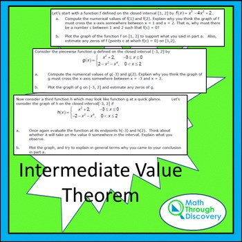 Calculus:  Intermediate Value Theorem - An Investigation