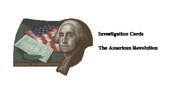 Investigation Cards: American Revolution