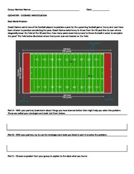 Investigation - Distance Formula using football - GPE.B.7 COMMON CORE GEOMETRY