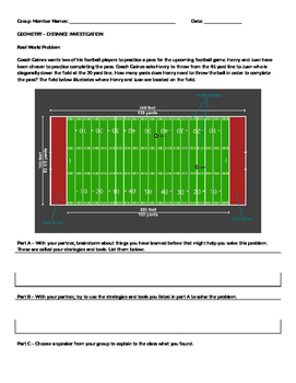 Investigation - Distance Formula using football - GPE.B.7 COMMON CORE GEOMETRY