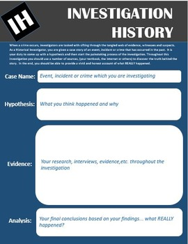 Investigation History Lesson Plan and Template