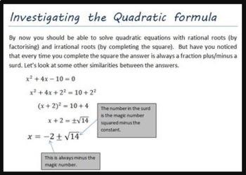 Investigation: Quadratic Formula