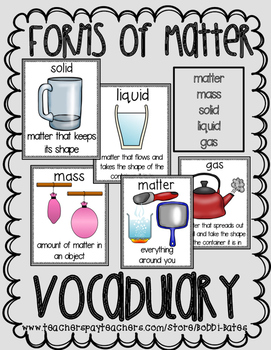 Forms of Matter Vocabulary Word Posters