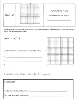 Investigation & WS Packet - Cubic Functions and Transformation