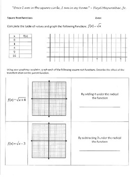 Investigation and WS Packet - Square Root Functions and Transformations