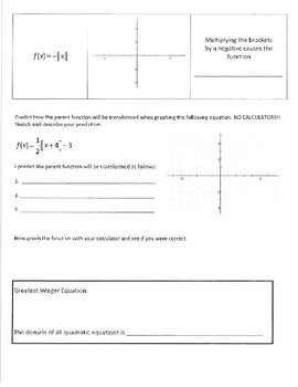 Investigation and WS packet - Greatest Integer Functions and Transformations