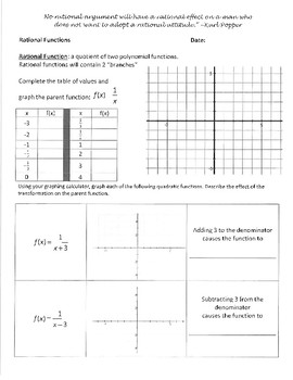 Investigation and WS packet - Rational Functions and Transformations
