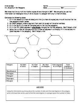 Investigation on Interior Angle Measure Sum in Polygons