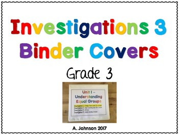Investigations 3 Unit Binder Covers